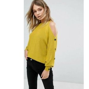 River Island Button Sleeve Sweater Cold Shoulder